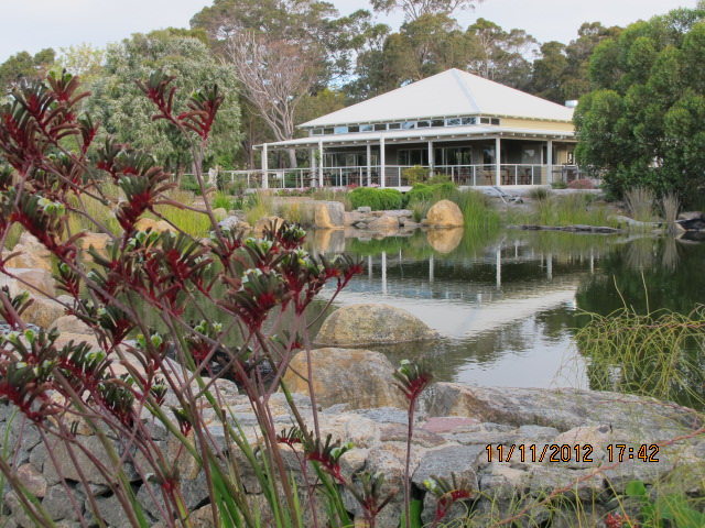 cafe overlooking lake and gardens